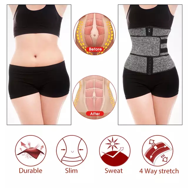 Free Shipping Corset Sweat Belt for Women Weight Loss Compression Trimmer Waist Trainer Body Shaper Workout Fitness